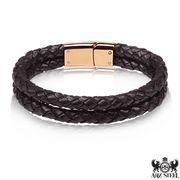 Men's Double Black Leather Bracelet