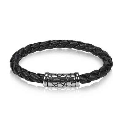 8mm Black Braided Rubber Steel Bracelet