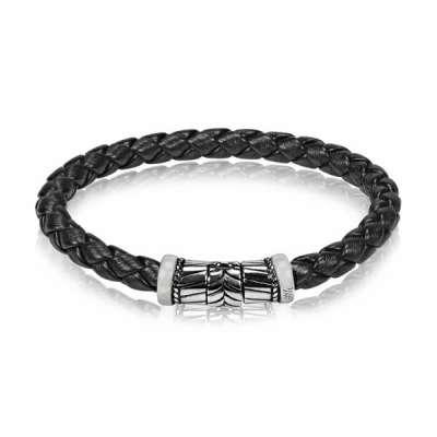 6mm Black Braided Rubber Steel Bracelet