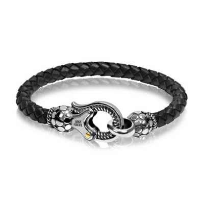 Mens 8mm Black Leather Hook Bracelet