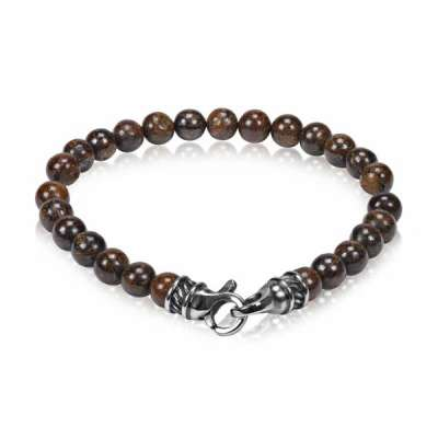 7MM Steel Bead Bracelet color Brown