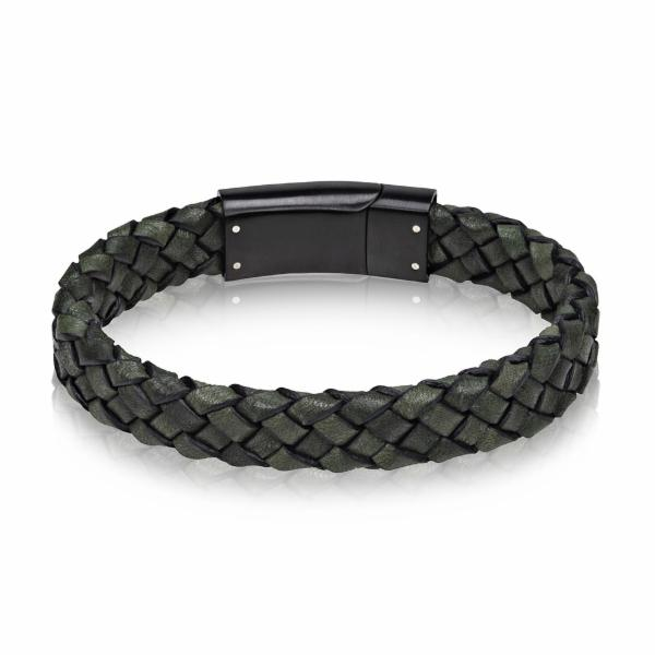 Green Leather Bracelet with Black Steel Clasp