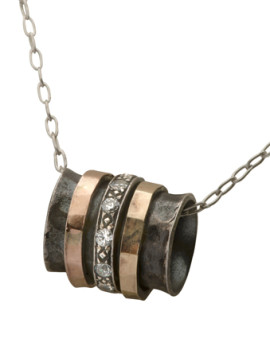 Sterling Silver Oxidized pendant with 2 Rings