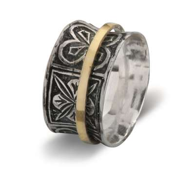 Sterling Silver and 9 K Yellow Gold Spinner Ring
