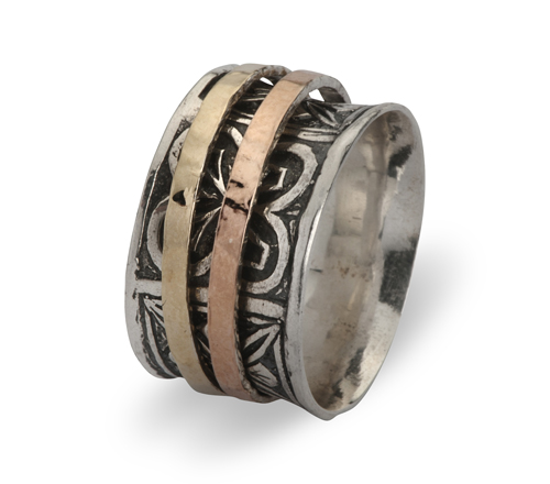 Sterling Silver Spinner ring with an Oxidized finish