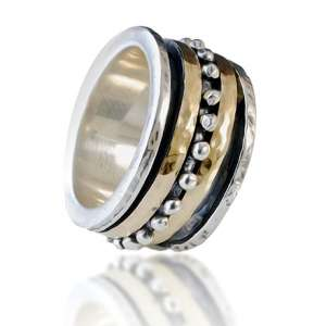Sterling Silver and 9K Yellow Gold Spinner Ring