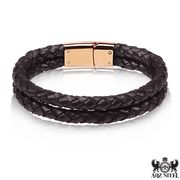 Men's Double Brown Leather Bracelet