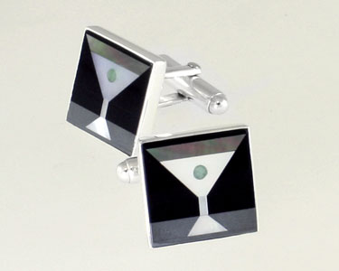 Square Martini Inlay cufflinks