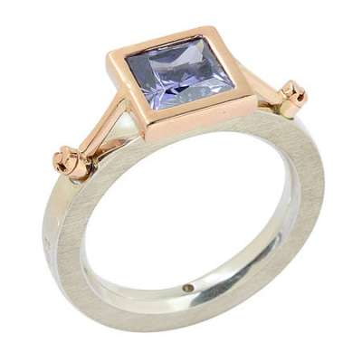 Square Tanzanite Suspension Ring
