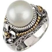 freshwater pearl with fleur de lis trim