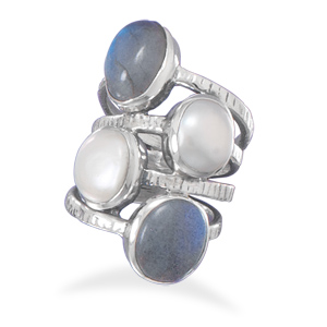 Labradorite and pearl ring