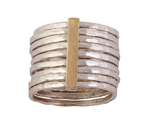 multiple silver ring with gold bar