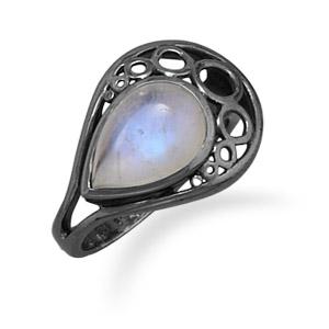 oxidized pear rainbow ring