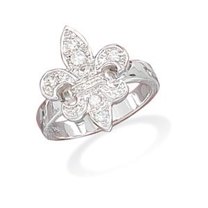 rhodium plated fleur de lis CZ ring