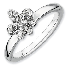 sterling silver diamond fleur de lis ring