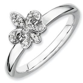 sterling silver diamond fleur de lis ring