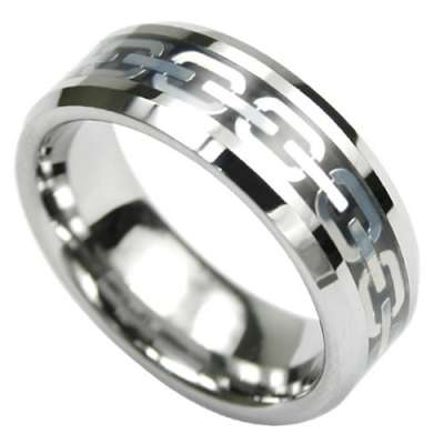 tungsten ring with chain link design