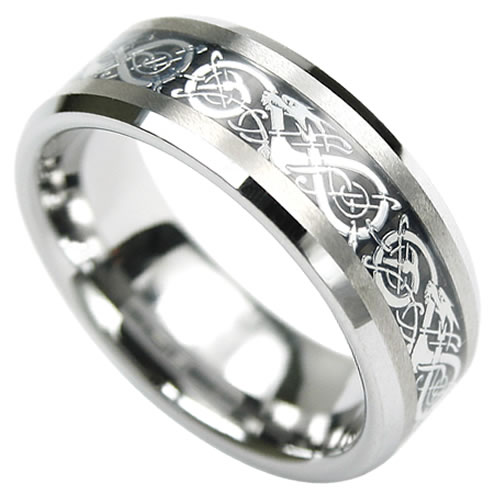 tungsten with engraved inlay